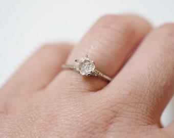 14k White Gold Art Deco Engagement Ring, Raw Diamond Ring, Unique Engagement, Rough Diamond, 1 carat, Promise, Size 6.5, Organic Stone