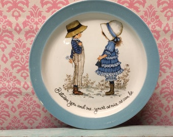 Kitch Children Plate, Holly Hobbie Style, Staffordshire Plate, Vintage Barrats Plate, Anniversary Gift, Cute Child Plate, Retro Friends Gift