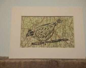 Sparrow Linoprint