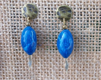 Blue and white polymer earrings