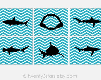 Shark Art Prints or Canvases, Set of 6, Jaws Wall Art, Shark Nursery Child's Room or Bathroom, Ocean or Sea Nursery Art, Shark Poster Art