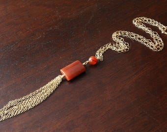 Tassel necklace agate necklace agate pendant agate jewelry gold tassel necklace one of a kind necklace one of a kind jewelry orange necklace