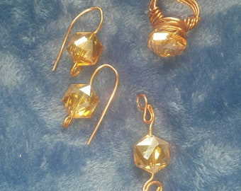 Earrings/ring/pendant/jewelry set/crystal earrings/gifts for her/gifts /earring/ dangle earrings/wirewrapped jewelry