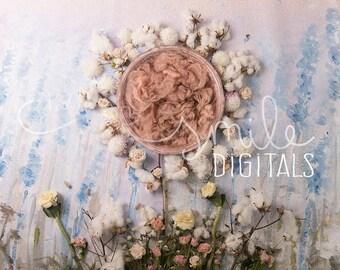 Floral Field Newborn Digital Backdrop