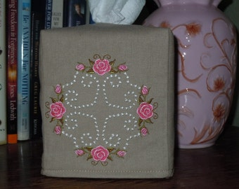 Essex Putty Linen Custom Tissue Box Cover with Embroidery Quilt Design Tissue Cover
