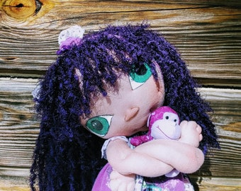 """Alien fantasy baby cloth art doll 23"""" w/ handmade outfit + toy OOAK hand-crafted upcycled fabrics """"Starseed Kid"""" doll hand signed by me"""