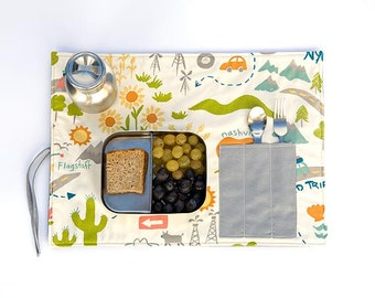 Organic placemat, landscape lunchbox set  with cutlery pocket. In green and orange.