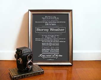 Stormy Weather Music Poster inspired by song Vintage Music Poster  Stormy weather music song art poster Art Music Poster song