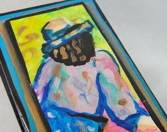 BIG SALE Vintage Abstract Art Brooch Portrait Pinks, Blues, Greens. Gilt. Aqua.