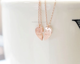 Best Friends Heart Necklace Set in rose gold ,best friend necklace, Split heart necklace, Friendship necklace, Everyday necklace