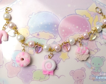 Kawaii Sweet Charms Bracelet   Acrylic Beads Bracelet With Fake Sweets Charms   Christmas gift for her & for teen girls