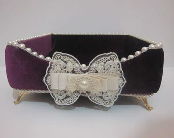 Purple Napkin Box,Napkin Storage,Laced Velvet Napkin Box,Luxury Napkin Box,Luxury Laced Napkin Storage,Kitchen Gift,Velvet Napkin box