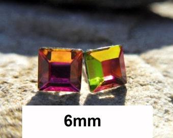 Vitrail Medium Studs, 6mm Crystal Studs, Swarovski, Flat back Studs, Square Earrings, Vitrail Medium, Square Crystal Studs, Small VM Studs