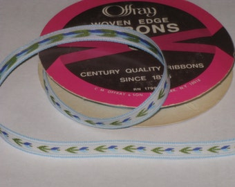 Vintage Offray Novelty Ribbon Embroidered Trim Blue Flowers 3 Yards Made in USA New