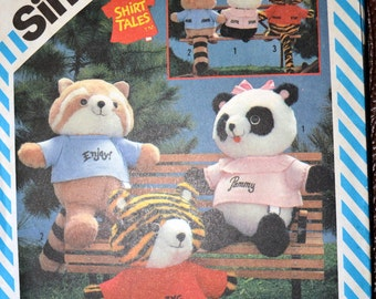 Vintage Sewing Pattern Simplicity 6053 Stuffed Animals  Complete Shirt Tales