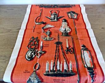 Vintage Tea Towel, Dishcloth, Dish Towel, Vintage, Kitchen Towel, Kitchen, Colonial, 1970s, Linen, Vintage Kitchen