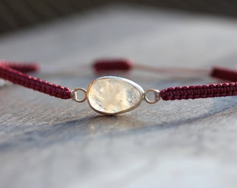 Sea Moonstone Bracelet in Wineberry red and pale pink