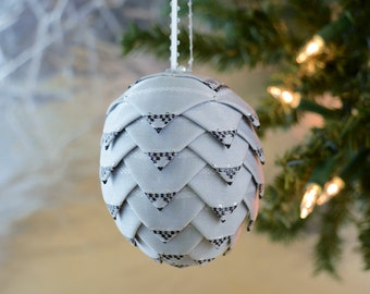 Silver Satin Handmade Christmas Ornament with black foil design Classic holiday ornament of German design Perfect for office gift exchanges