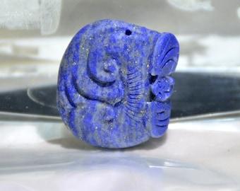 Carved lapis lazuli pendant, bat flower blue lapis Link, Mythical Animals Amulet Talisman pendant, Gemstone bead making Necklace pendant D1