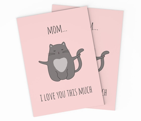 Printable cat mothers day card digital love mom printable cat mothers day card digital love mom instant download mom birthday card cat greeting card diy printable mothers day card m4hsunfo Choice Image