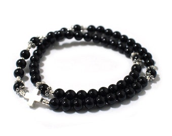 Black Onyx Rosary bracelet, 2-line bracelet, Silver Cross and decoration