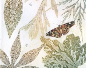 Original monoprint | Fritillary butterfly | Botanical fine art print | Print making | Helen Lush | Garden leaves and flowers | One of a kind