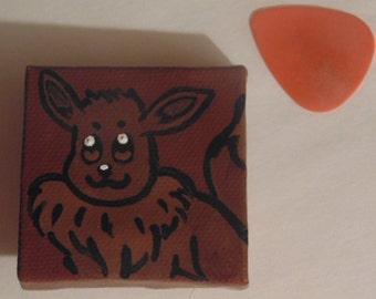 Handmade Eevee Magnet, Pokemon, Normal-Type, Evolution, Dog, Brown, Black, White, Tan, 2x2
