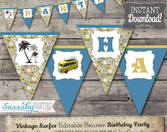 Vintage Surf Party Banner - INSTANT DOWNLOAD - Editable & Printable Birthday Decoration, Decor, Bunting by Sassaby Parties