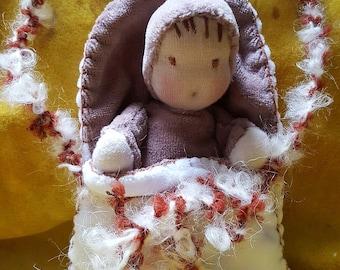 Waldorf Doll, baby doll with white cradle handbag, newborn doll, Waldorf-style dolls, dolls
