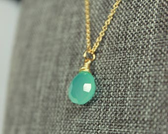 Aqua Chalcedony Gold Necklace