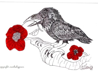 Crow Valentine, Crow, with red flower, Crow art, crow ink drawing, romantic crow, greeting card, or art print, from original drawing
