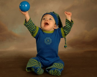 Blue and green striped organic cotton Planet Om jumpsuit
