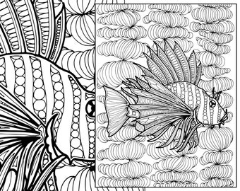 zentangle fish adult coloring page, adult coloring sheet, colouring sheet, adult colouring book, printable coloring, digital coloring page