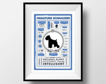 Miniature Schnauzer Infographic Art Print, Miniature Schnauzer Breed Facts & Traits, Schnauzer Gift, Dog Gift for Him, Vintage Style Dog Art