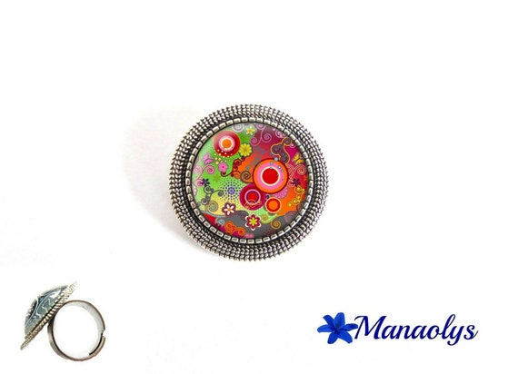 ring adjustable antique silver round, multicolored patterns, 190 glass cabochons