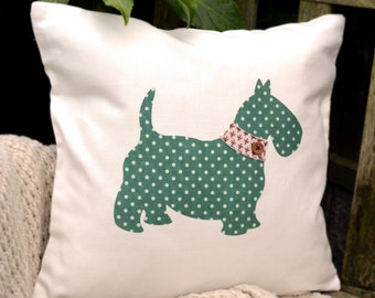 """HALF PRICE! Scottie Dog Cushion - Green Polka Dot & Choice of Collar, """"The Scotties of McDawg"""" Collection, Tamsin Reed Designs"""