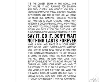 Lovely One Tree Hill Quote Printable / Inspirational Quotes / Nothing Lasts  Forever / Nathan Scott /