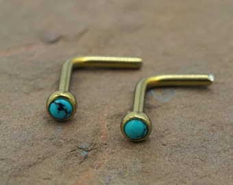 18g Turquoise Titanium Gold Nose Stud L Bend Nose Ring