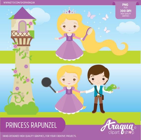 Princess rapunzel clipart set instant download png files - Rapunzel pictures download ...