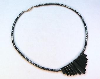 "vintage hematite bead necklace 17-1/2"" long modern looking"