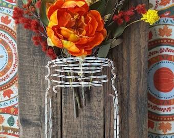 "Mason Jar String Art ""Fall Flowers""//fall decor//string art//pallet sign//"