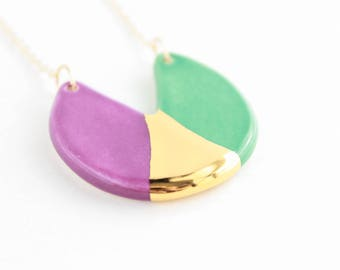 Cutout Necklace, Geometric Jewelry under 70, Clay Necklace for Women, Colorful Ceramic Necklace, Color Block Necklace, Gold Gift for Her