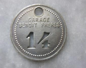 Key fob, French Vintage Number 14 Aluminium.