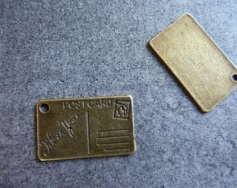 Bronze metal postcard charm