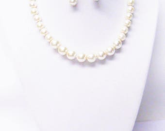 "14.5"" Ivory Glass Pearl Necklace/Bracelet/Earrings for Child"