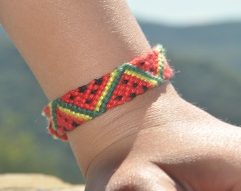 woven friendship bracelet / indian bracelet / hippie bracelet / gift / handmade / knotted bracelet - Watermelon Slices Bracelet (green\red)