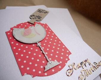 Gin Birthday Card, Gin Glass Card, Happy Birthday, Handmade Card, Aunt, Wife, Fiancee, Nan, Mum, Grandma, Mother, Niece, Cousin, Partner,