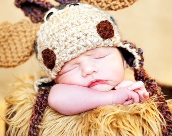 Baby Hat - Moose Hat - Baby Halloween Costume Hat -  Baby Moose Hat - Newborn Cute and Soft Moose Earflap - by JoJosBootique