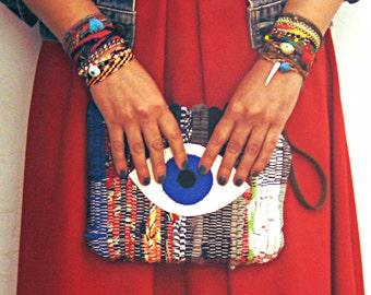 Evil Eye Purse. Boho Chic Wristlet. Small Kilimbag. Colorful Womens Gift. Hippie Bag. Gypsy Bag.  Blue Eye. Kourelou Bag.  Festival Bag