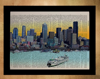 Seattle Skyline Dictionary Art Print Ferry Space Needle Upcycled Book Wall Art Home Decor Vintage Paper da710